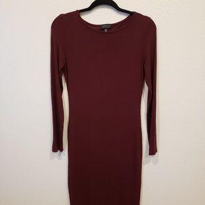 Topshop Bodycon L/S Midi Dress Wine Color size 8